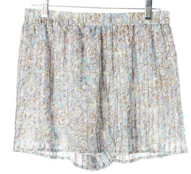 JOIE Blue Ivory Floral Silk Oasis Aeidra Pleated Casual Shorts