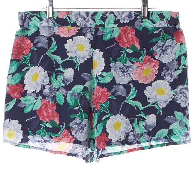 JOIE Blue Pink Green Floral Silk Elastic Waist Casual Shorts