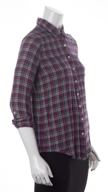 JOIE Pink Ivory Black Plaid Button Down Shirt Top