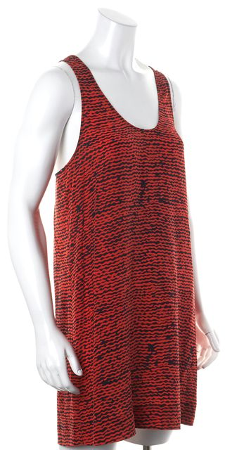 JOIE Red Black Abstract Silk Knotted Racerback Shift Dress
