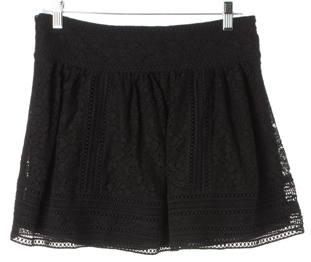 JOIE Caviar Black Lace Darby Pleated Above Knee Full Skirt