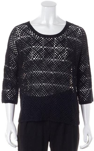 JOIE Black Crochet Crewneck 3/4 Sleeve Semi Sheer Open Knit Top
