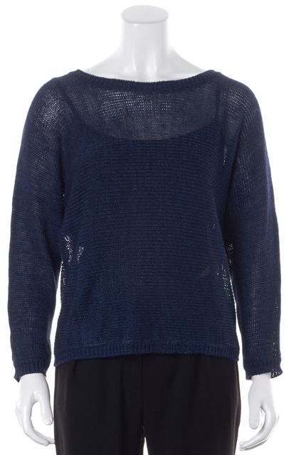 JOIE Blue Linen Long Sleeve Relaxed Fit Open Knit Top