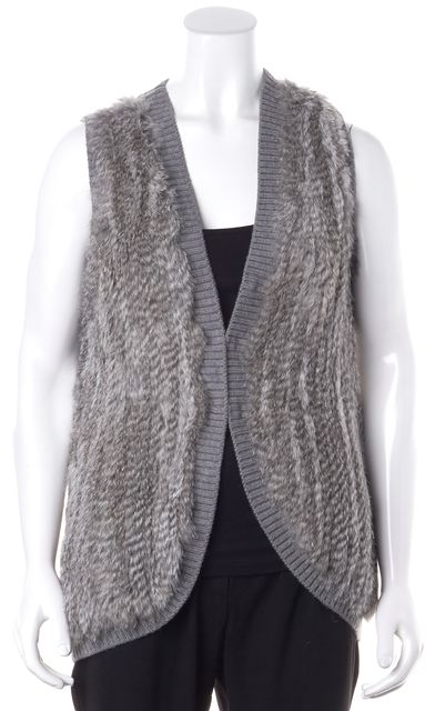 JOIE Gray Wool Rabbit Fur Ribbed Knit Vest