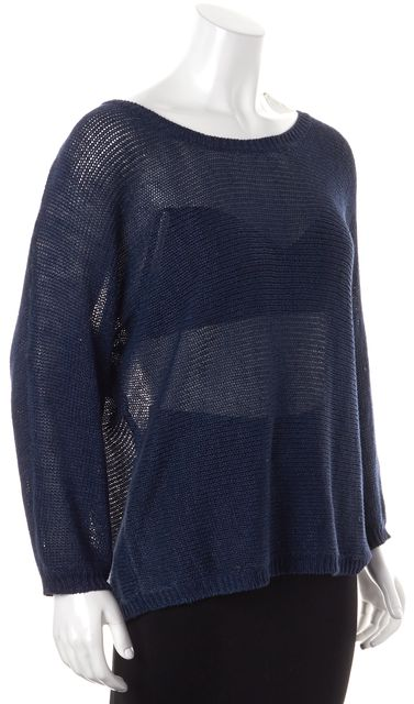 JOIE Blue Dolman Sleeve Open Knit Sheer Scoop Neck Sweater