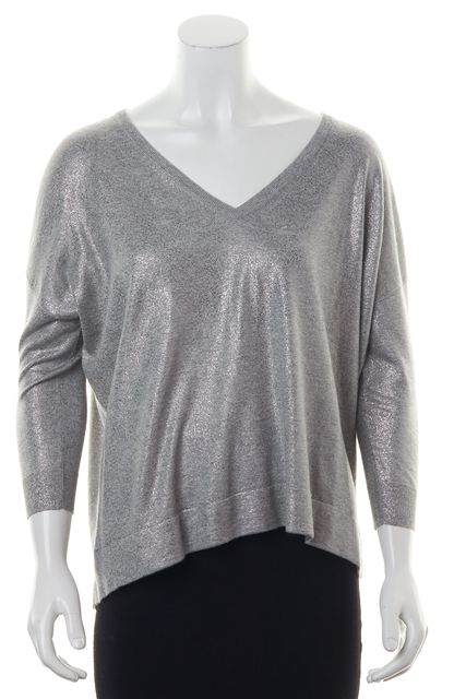 JOIE Light Heather Grey Metallic Silver Foil V-Neck Sweater