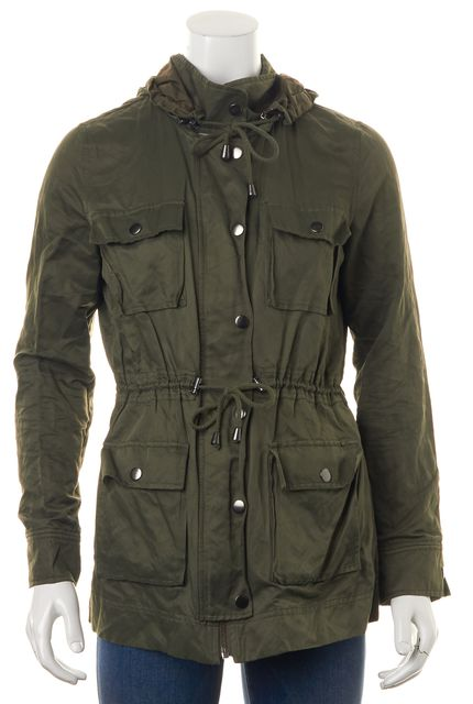 JOIE Olive Green Cotton Blend Hooded Zip-Up Military Jacket