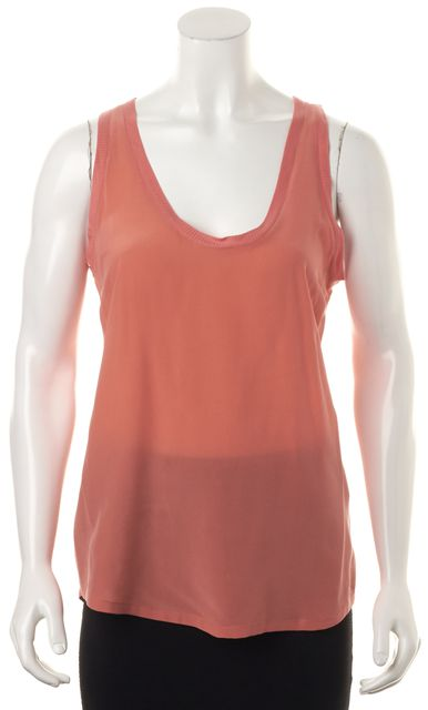 JOIE Orange Sherbet Silk Scoop Neck Tank Top