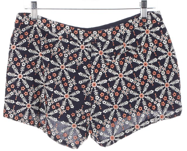 JOIE Navy Blue White Pink Floral Embroidered Casual Shorts