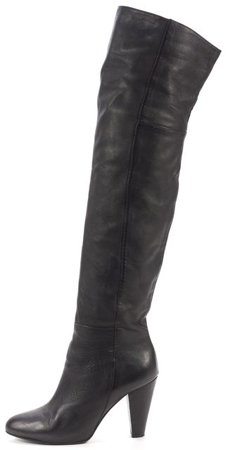 JOIE Black Leather Heeled Over The Knee Boots