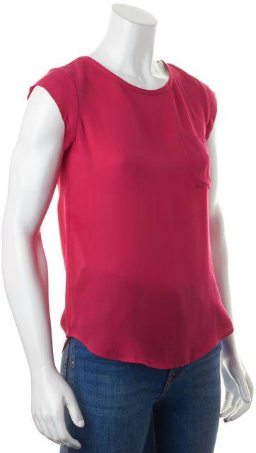 JOIE Fuchsia Pink Silk Cap Sleeve Keyhole Back Blouse Top