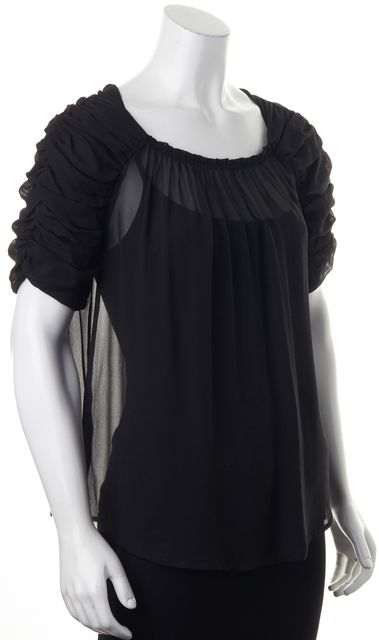 JOIE Black Sheer Pleated Exaggerated Puff Sleeves Blouse Top