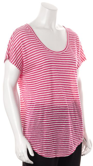 JOIE Pink White Striped Linen Relaxed Fit Scoop Neck Basic Tee T-Shirt