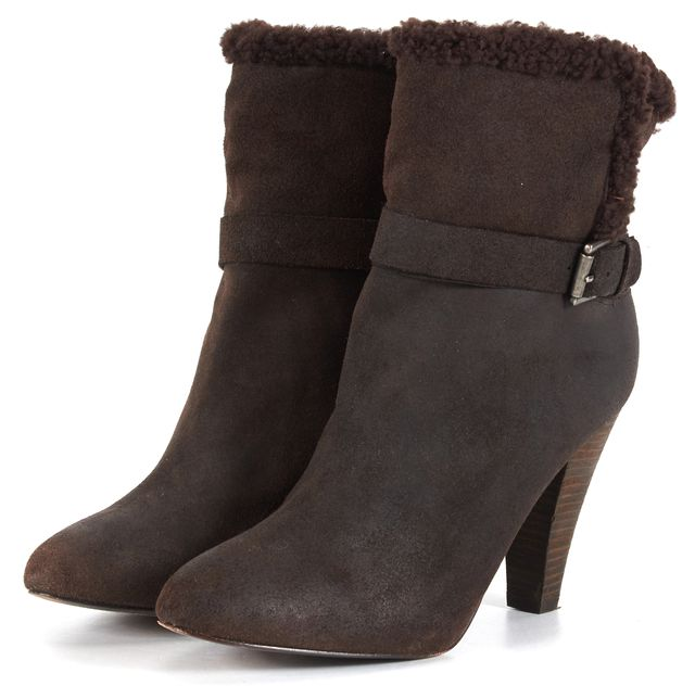 JOIE Brown Suede Shearling Lined Almond Toe Ankle Boots