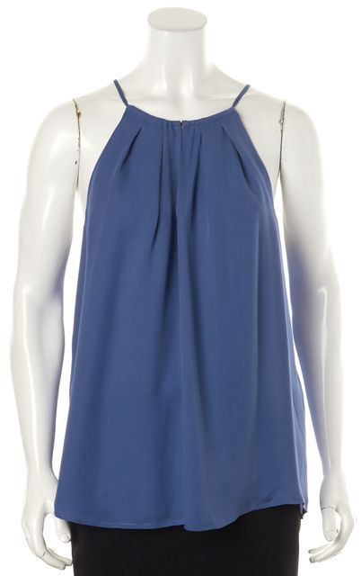 JOIE Blue Silk Relaxed Fit Sleeveless Flare Blouse Top
