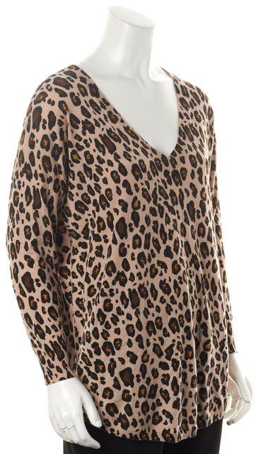 JOIE Beige Brown Black Animal Printed Long Sleeve Oversized V-Neck Sweater