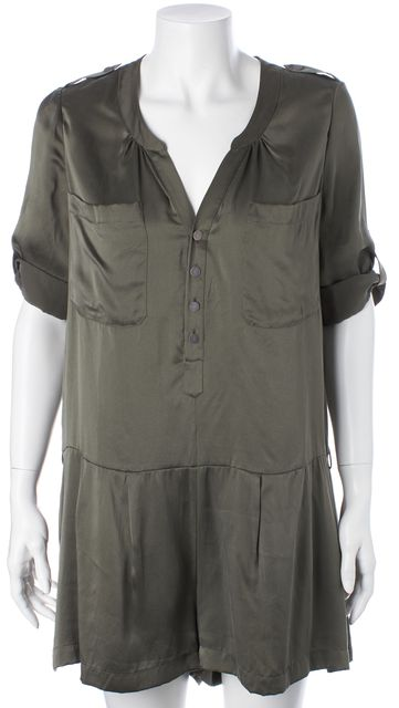 JOIE Army Green Silk Rolled Sleeve Romper