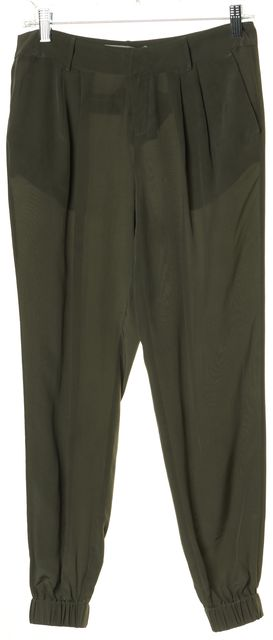 JOIE Green Silk Pleated Trouser Style Jogger Pants