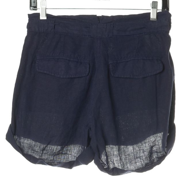 JOIE Navy Blue Linen Drawstring Mini, Short Shorts