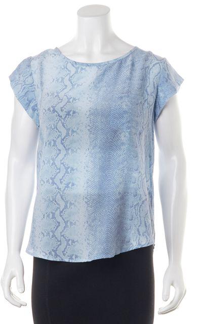 JOIE Blue Snake Print 100% Silk Cap Sleeve Blouse Top