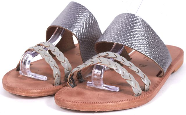 JOIE Silver Snake Embossed Leather Slip-On Sandals