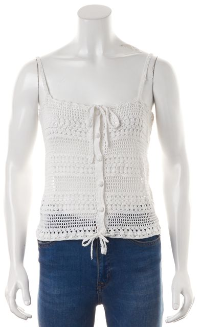 JOIE White Crochet Spaghetti Strap Sheer Cropped Blouse Top
