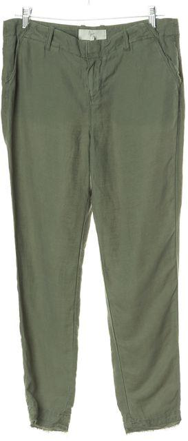 JOIE Green Fringe Trim Skinny Leg Linen Pants