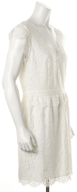 JOIE White Floral Lace Cap Sleeve V-Neck Formal Sheath Mini Dress