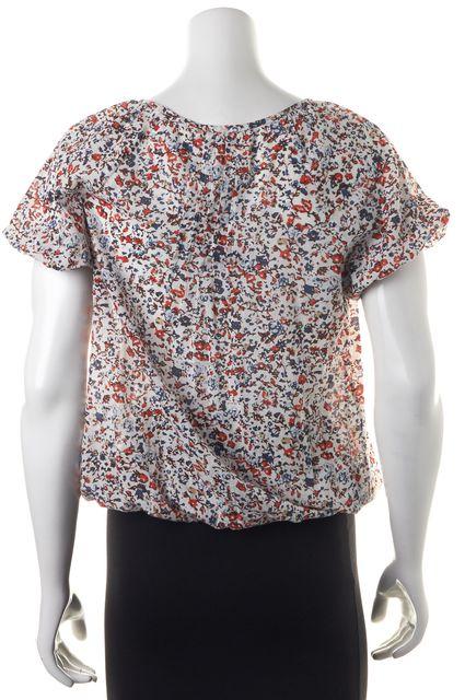 JOIE White Blue Orange Brown Floral Print Blouse Top