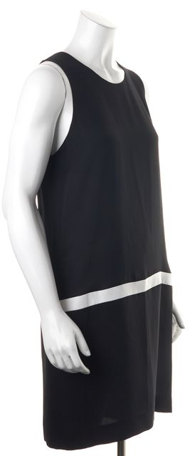 JOIE Black White Silk Sleeveless Knee-Length Shift Dress