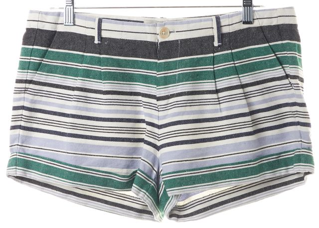 JOIE Blue Green Gray Striped Pleated Cuffed Casual Shorts