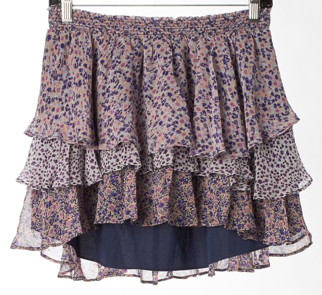 JOIE Purple Multi Floral Printed Silk Tiered High-Low Hem Mini Skirt