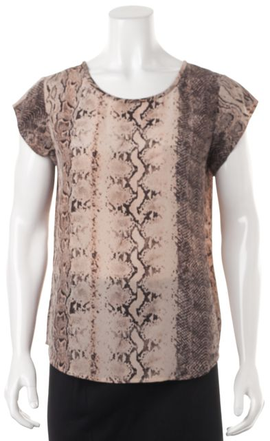 JOIE Pink Brown Animal Snake Print Silk Relaxed Fit Blouse Top