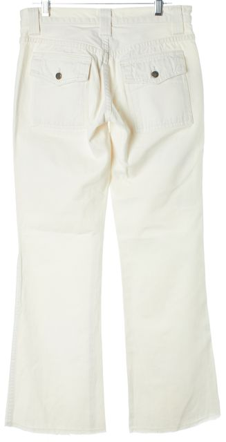 JOIE Ivory Cotton Mid-Rise Distressed Hem Flare Jeans