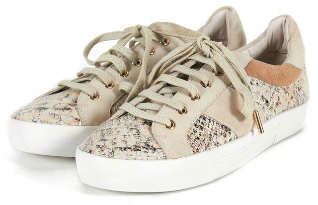 JOIE Beige Gray Animal Print Suede Sneakers