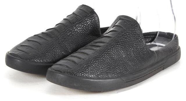 JOIE Black Crocodile Embossed Leather Slip-on Mules