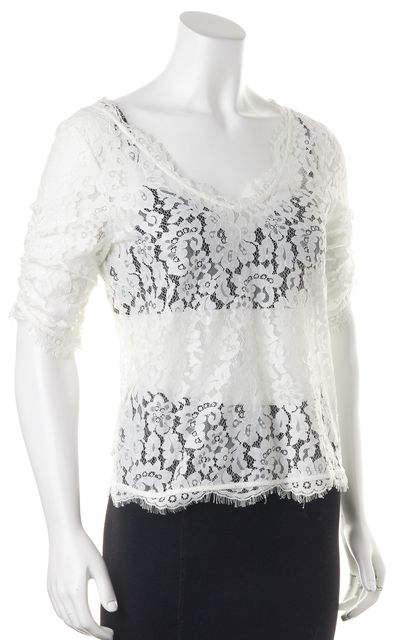 JOIE White Lace Floral 3/4 Sleeve Blouse Top