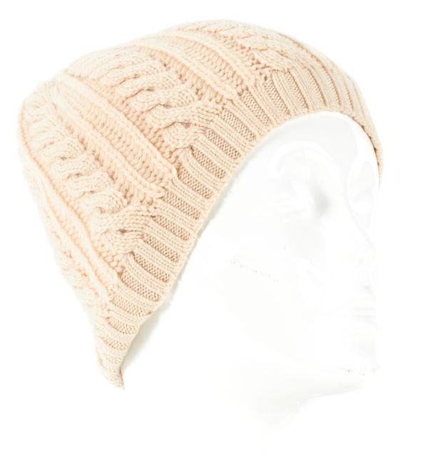JOIE Ivory Wool Blend Cable Knot Beanie Hat