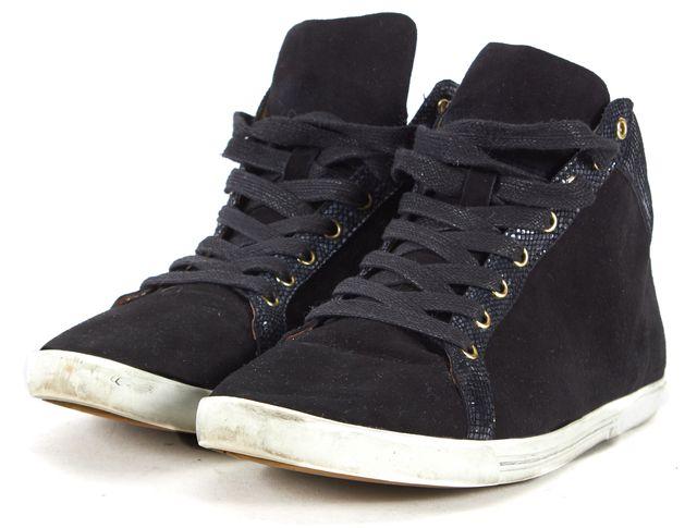 JOIE Black Suede Embossed Trim High-Top Sneaker