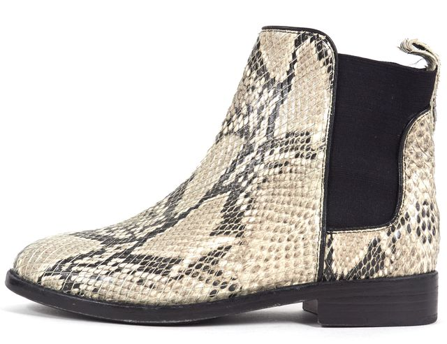 JOIE Gray Black Python Embossed Leather Chelsea Boots