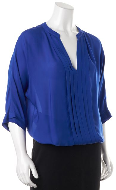 JOIE Royal Blue Silk V-Neck Pleated Relaxed Fit Blouse Top