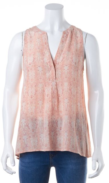 JOIE Pink Abstract 100% Silk V-Neck Sleeveless Blouse Top