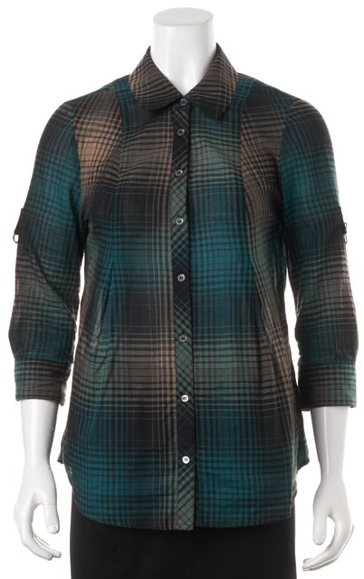 JOIE Green Beige Black Plaid Button Down Shirt Top