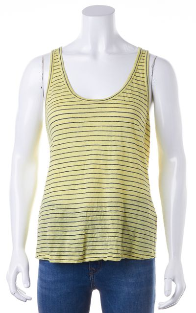 JOIE Yellow Blue Striped Linen Relaxed Fit Tank Top