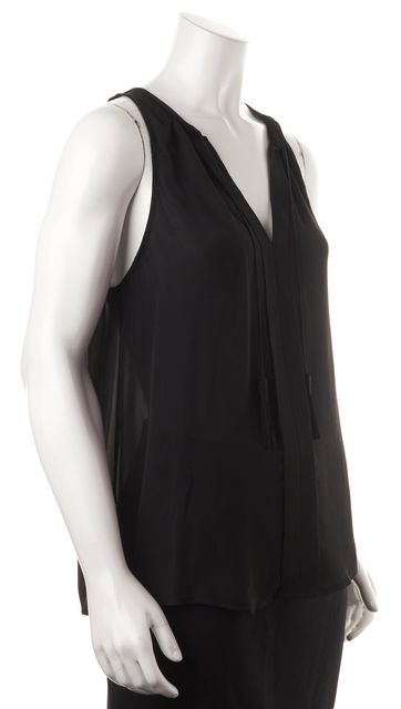 JOIE Black Caviar Sheer Silk Sleeveless Tassel Tie Airlan Blouse Top