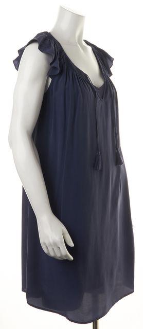 JOIE Blue Silk Ruffled Cap Sleeve Knee-Length Shift Dress