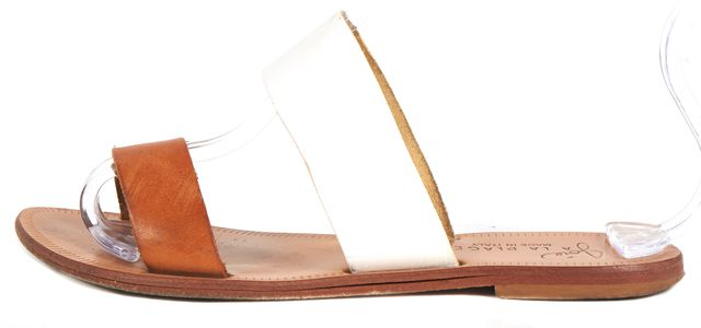 JOIE White Tan Double Band Flat Slip-On Sandals
