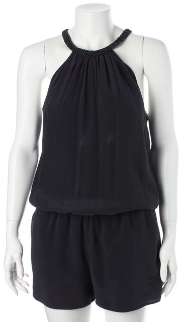 JOIE Black Silk Braided Net Trim Halter Romper