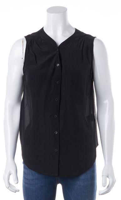 JOIE Black 100% Silk Sheer Back Sleeveless Button down Blouse