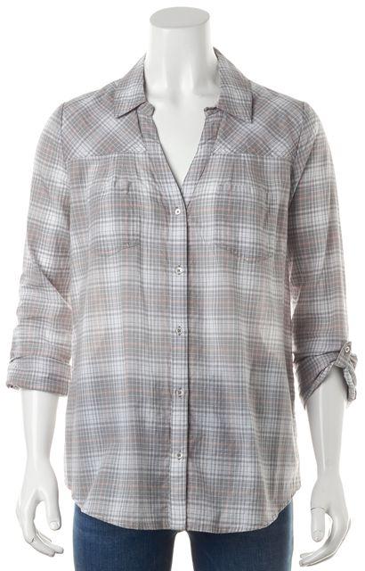 JOIE Gray Pink White Two Pocket Plaid Button Down Shirt Blouse